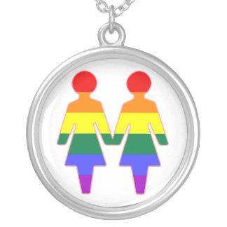 chicas del arco iris del lgbt collar plateado