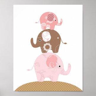 Chicas del arte del elefante del cuarto de niños