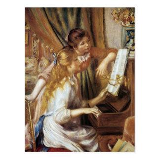 Chicas en el piano postal