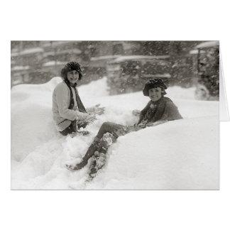 Chicas en la nieve, 1922 tarjeta de felicitación