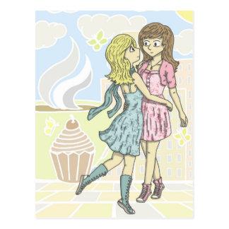 Chicas en pastel postal