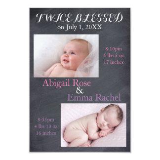Chicas gemelos dos veces bendecidos - invitación