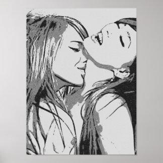 Chicas idos lesbianas salvajes, atractivas que póster