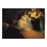 Chicas jóvenes en un piano, 1906 tarjeta de felicitación