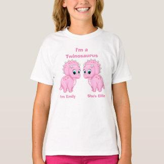 Chicas lindos del gemelo del dinosaurio del bebé camiseta