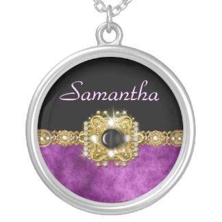 Chicas negros púrpuras elegantes del damasco colgante