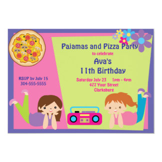 Chicas pijama y fiesta de la pizza invitación 12,7 x 17,8 cm