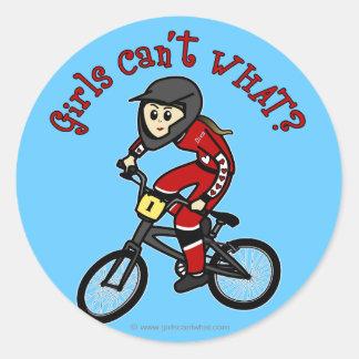 Chicas rojos claros BMX Pegatina Redonda