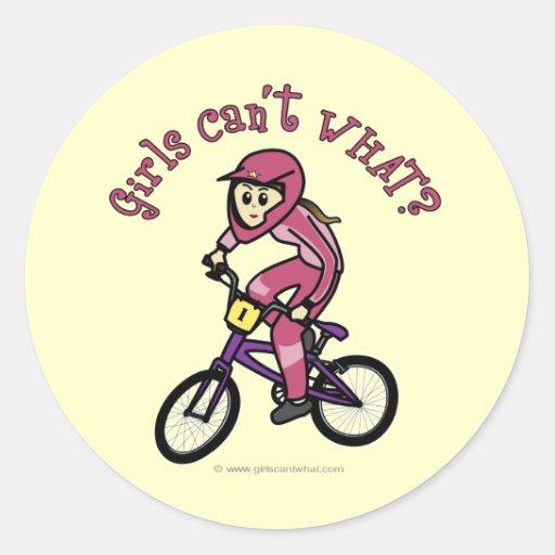 Chicas rosas claros BMX Pegatinas Redondas
