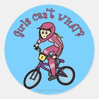 Chicas rosas claros BMX Etiqueta Redonda