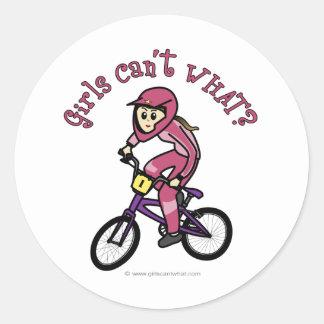 Chicas rosas claros BMX Pegatina Redonda