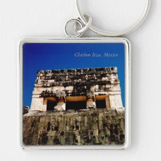 Chichen Itza, México Llavero Cuadrado Plateado