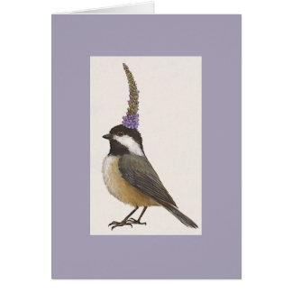 chickadee en la lavanda tarjeta de felicitación