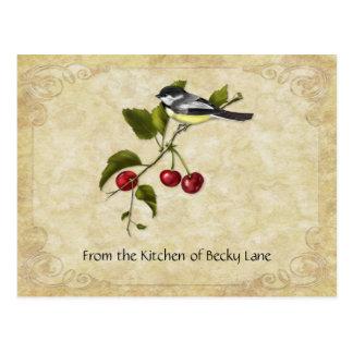 Chickadee en tarjetas de la receta de la rama de