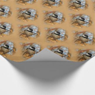 Chickadee Negro-Capsulado hambriento esperanzado Papel De Regalo
