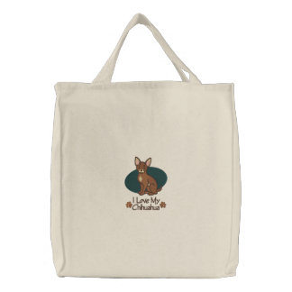 Chihuahua del amor bolsa de tela bordada