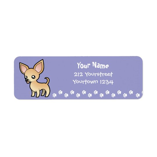 Chihuahua del dibujo animado (capa lisa) etiqueta de remitente