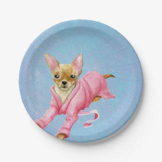 Chihuahua en placas rosadas del fiesta del papel plato de papel