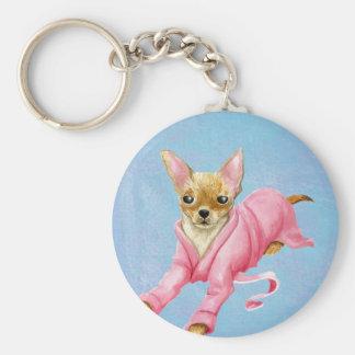 Chihuahua en un llavero del perro de la albornoz