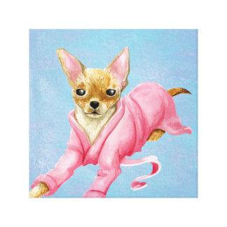 Chihuahua en una impresión de la lona del perro de