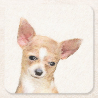 Chihuahua Posavasos Cuadrado De Papel