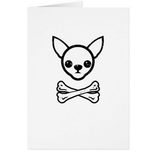 Chihuahua y huesos (editable) tarjetas