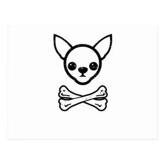 Chihuahua y huesos (editable) tarjeta postal
