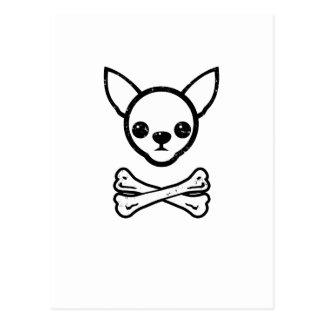 Chihuahua y huesos (editable) postales