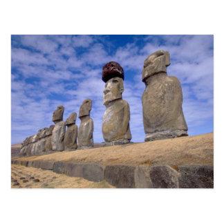 Chile, isla de pascua. Los 15 Moais en Ahu Postal