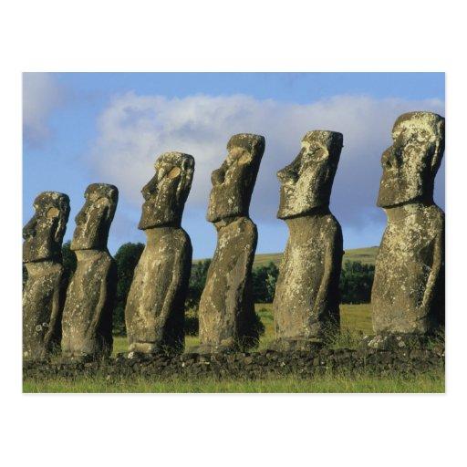 Chile, isla de pascua, Rapa Nui, Ahu Akivi Tarjeta Postal