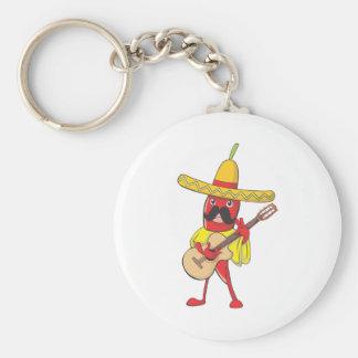Chile mexicano que toca una guitarra llavero redondo tipo chapa
