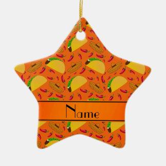 Chilis anaranjados conocidos personalizados de los adorno de cerámica en forma de estrella