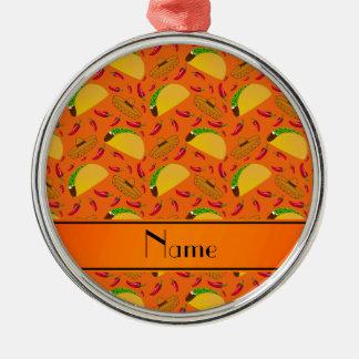 Chilis anaranjados conocidos personalizados de los adorno redondo plateado