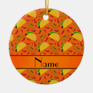 Chilis anaranjados conocidos personalizados de los adorno redondo de cerámica