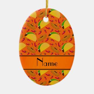 Chilis anaranjados conocidos personalizados de los adorno ovalado de cerámica