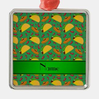Chilis verdes conocidos personalizados de los adorno cuadrado plateado