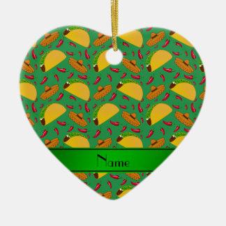 Chilis verdes conocidos personalizados de los adorno de cerámica en forma de corazón