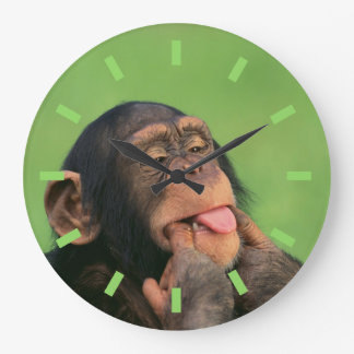 Chimpancé fresco reloj redondo grande