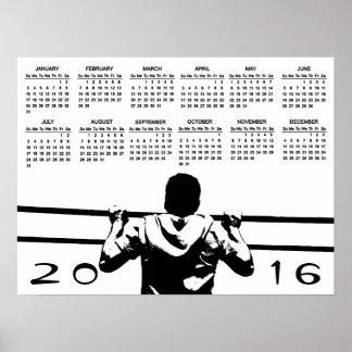 Chin encima del calendario 2016 póster