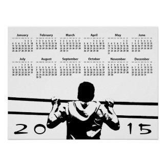 Chin encima del calendario de pared 2015 impresiones