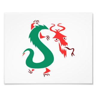chino abstracto verde rojo dragon.png impresiones fotográficas