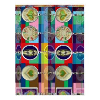 Chino oriental: Pequeñas decoraciones de los CORAZ Tarjeta Postal