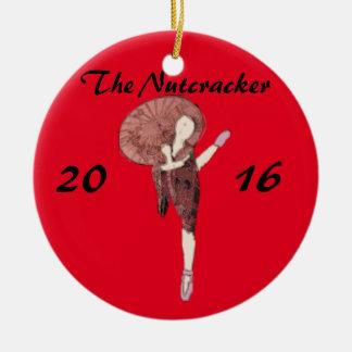 Chino personalizado del ornamento del cascanueces adorno navideño redondo de cerámica