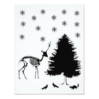 Chipmunk de las palomas de la nieve del árbol de invitación 10,8 x 13,9 cm