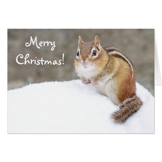 Chipmunk Nevado de las Felices Navidad Tarjeta De Felicitación