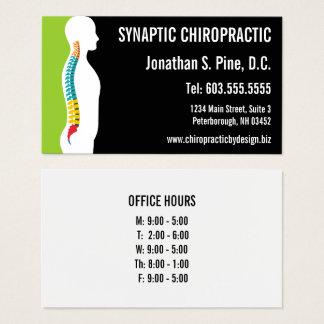 Chiropractor gráfico de las horas de oficina de la tarjeta de visita