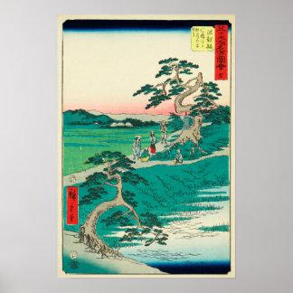 Chiryuu, Japón: Impresión de Woodblock del vintage