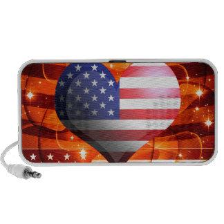 chispa 4ta del corazón de la bandera americana de altavoces de viajar