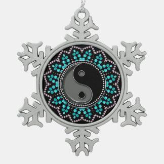 Chispa de la edad del negro de la aguamarina de adorno de peltre en forma de copo de nieve
