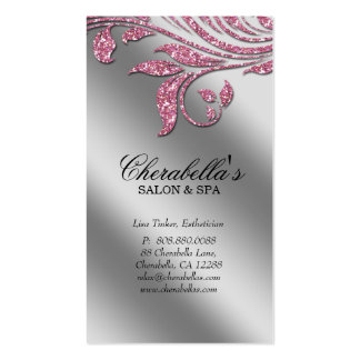 Chispa de plata rosada elegante Le de la tarjeta d Plantillas De Tarjetas Personales